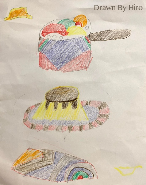 [繪畫] 煎餃、五色水餃、布丁、繽紛蛋糕捲